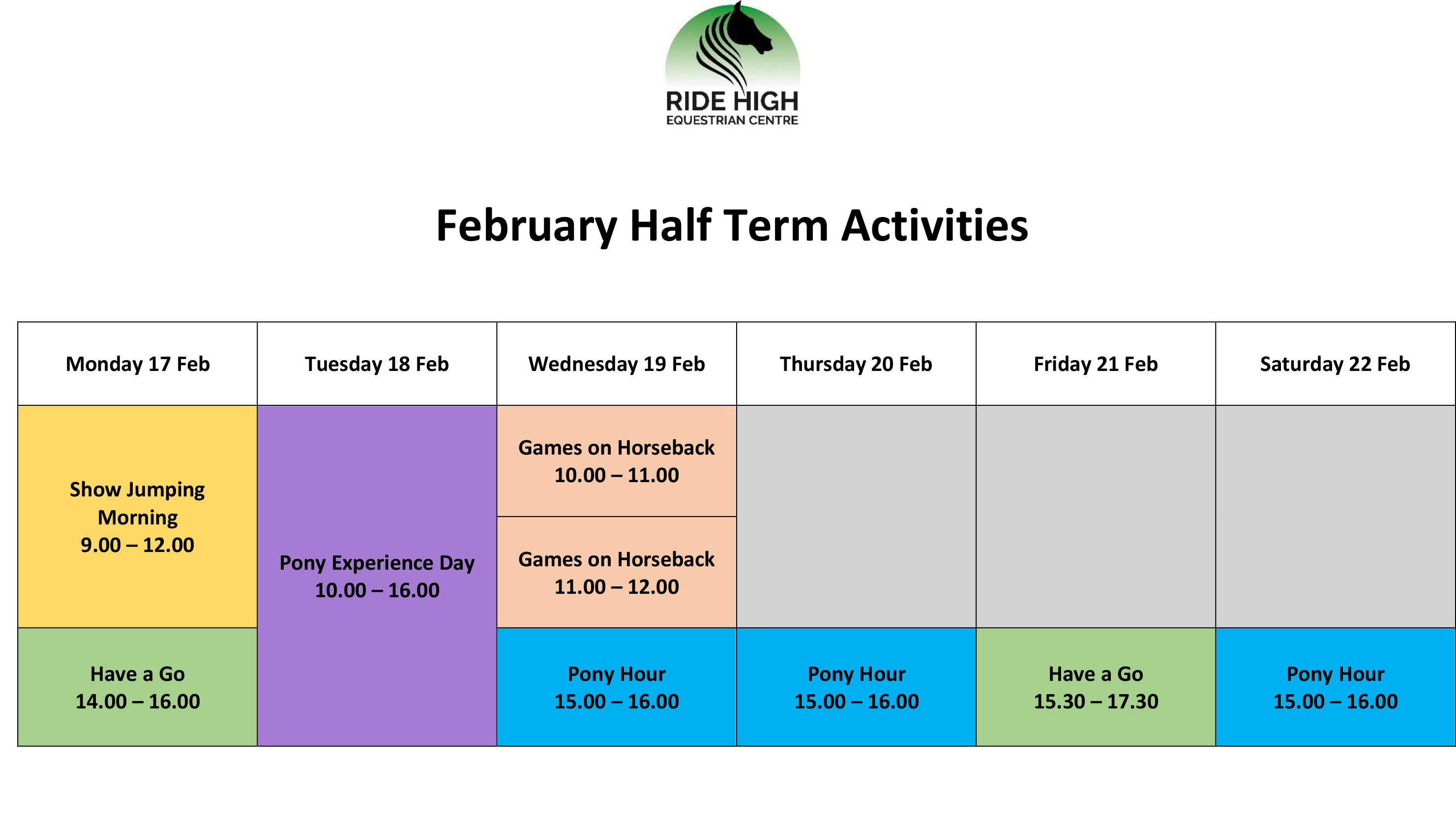 February Half Term at Ride High Equestrian Centre - revised schedule 09 01 20